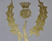 Scottish thistle gold heraldic vinyl decal