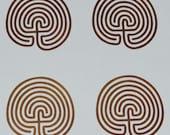 Labyrinth SET of 4 classic 7 circuit copper vinyl decals