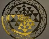 Sri Yantra sacred geometry gold mirror vinyl decal