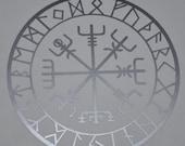 Vegvisir viking compass talisman silver vinyl decal