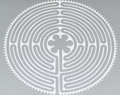 Chartres REFLECTIVE white labyrinth vinyl decal