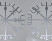 Viking vegvisir rune SET of 2 silver vinyl decal