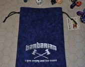 BARBARIAN Dungeons and Dragons game dice bag