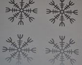HELM of Awe SET of 4 Viking rune silver vinyl decal