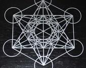 Metatron's cube sacred geometry silver vinyl decal