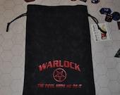 WARLOCK Dungeons and Dragons game dice bag