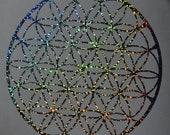 Flower of life sacred geometry confetti vinyl decal