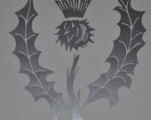 Scottish thistle silver heraldic vinyl decal