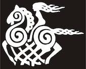 Viking Odin Sleipnir goddess white vinyl decal