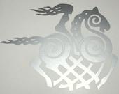 Sleipnir goddess Viking silver vinyl decal