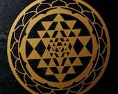 Sri Yantra sacred geometry copper vinyl decal