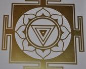 Kali Yantra mandala gold vinyl decal
