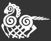 Viking Odin Sleipnir white vinyl decal
