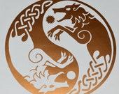 Viking wolf Skoll Hati yin yang copper vinyl decal