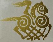 Viking Sleipnir goddess gold vinyl decal