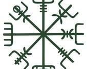 Icelandic Viking vegvisir rune dark green vinyl decal