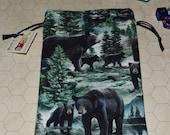 Black bears tarot rune dice bag