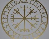 Vegvisir viking compass talisman gold vinyl decal