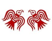 Viking ravens red vinyl decal