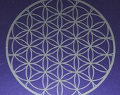 Flower of life sacred geometry silver vinyl decal