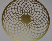 Torus sacred geometry gold vinyl decal