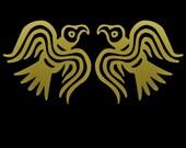 Viking Odin ravens gold vinyl decal