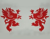 Rampant griffin red heraldic vinyl decals