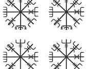 Vegvisir SET of 4 Viking rune MATTE BLACK vinyl decal