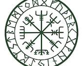 vegvisir Viking  compass protection runes talisman dark green vinyl decal