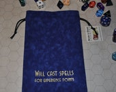 WILL CAST SPELLS Dungeons and Dragons game dice bag