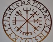 vegvisir Viking compass protection runes talisman copper vinyl decal