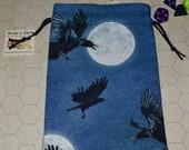 Ravens flying moon tarot rune dice bag