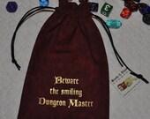 BEWARE smiling DM Dungeons and Dragons game dice bag