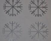 Viking vegvisir rune SET of 4 silver vinyl decal