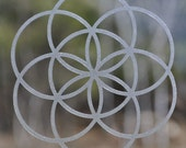 Seed of life sacred geometry etched glass vinyl decal