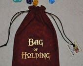 BAG of HOLDING Dungeons and Dragons game red dice