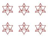 Merkabah star tetrahedron sacred geometry SET of 6 red vinyl decal