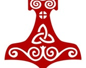 Viking mjolnir Thor's hammer red vinyl decal