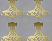 Viking mjolnir gold vinyl decal SET of 4
