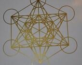 Metatron's cube sacred geometry gold vinyl decal