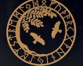 Viking yggdrasil ravens copper vinyl decal