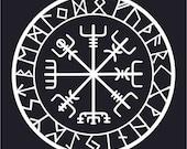 Viking protection runes vegvisir compass talisman white vinyl decal
