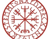 Viking protection runes vegvisir compass talisman red vinyl decal