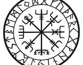 vegvisir Viking compass talisman matte black vinyl decal