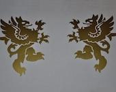 Rampant griffin gold heraldic vinyl decals