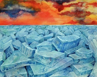 Winter's End, an original watercolor painting
