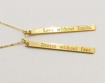 Skinny Bar Charms Necklace - Dream & Love Necklace