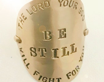 Gold Filled Ring - Hand Stamped Exodus 14:14 Be Still
