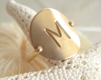 Gold Initial Ring - Hand Stamped & Personalized -also in Sterling Silver, Rose Gold