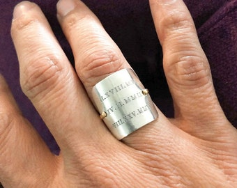 Roman numerals Birthdates - Sterling Silver and Gold Filled Handstamped Square Ring